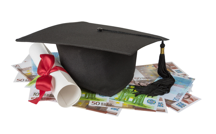 Graduate cap, banknotes and scroll